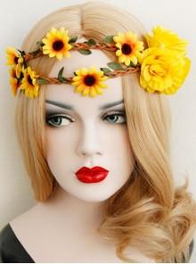 Yellow Sunflower Cane Christmas Prom Seaside Holiday Garland Elastic Hair Tie Rope