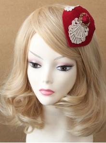 Retro Small Hat Headdress British Ladies Wine Red Hat Hairpin Bridal Jewelry Big Side Clip