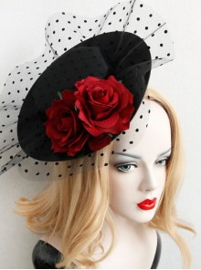 Retro Sexy Wine Red Rose Net Yarn Flower Top Hat Hairpin Nightclub Party Masquerade Party Accessories