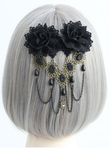 Gothic Lace Black Fringed Flowers Handmade Headdress Fashion Top Clip Hair Accessories