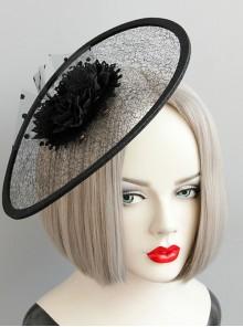 Black Exaggerated Net Yarn Flower Top Hat Retro Banquet Hat Head Accessories