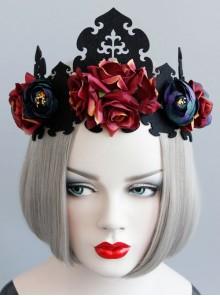 Retro Color Halloween Supplies Witch King Crown Headband Bride Wedding Wreath Hair Jewelry