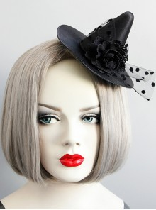 Gothic Halloween Flower Net Yarn Witch Hat Magic Hat Witch Party Props Hair Accessories