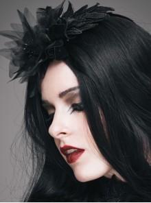 Black Feather Pattern Lace Mesh Flower Gothic Headdress