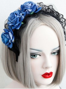 Gothic Vintage Roses Lace Maid Press Release Art Wide Brim Big Headband Christmas Day Ladies Accessories