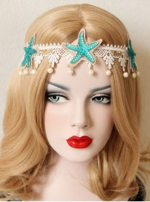 Gothic Holiday White Lace Starfish Pearl Hair Band Christmas Wreath Forehead Band Headwear