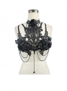 Black Lace Hollow Pattern 3D Flower Decoration Detachable Glass Diamond Gothic Chest Strap Jewelry