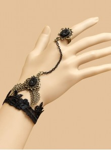Black Gothic Palace Creative Lace Bracelet Female Wristband Double Finger Queen Fan Personality Rose Ornament