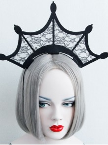 Black Retro Gothic Lace Crown Head Ornament Funny Halloween Christmas Exaggerated Headband