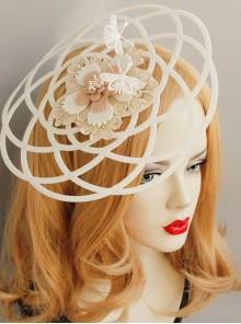 Gothic Retro Lady White Lace Bride Butterfly Flower Top Hat Headwear Performance Hair Accessories