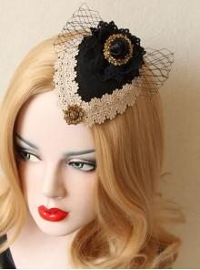 British Retro Gothic Black Net Gauze Bow Ladies And Ladies Small Top Hat Headwear Hair Accessories