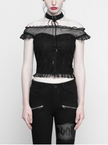 Off-Shoulder Short Sleeve Splice Lace Flounce Hem Black Gothic Imitates Silk T-Shirt
