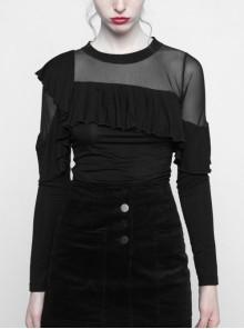 Front Chest Flounce Splice Mesh Long Sleeve Black Punk Tight-Knit T-Shirt