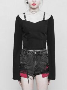 Off-Shoulder Metal Buckle Leather Shoulder Belt Long Sleeve Black Punk Chiffon Short T-Shirt
