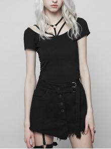 Metal Ring Bandage Big Collar Short Sleeve Black Punk Tight T-Shirt