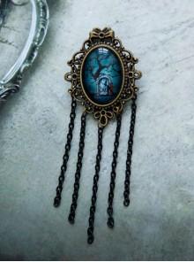 Bronze Halloween Gothic Style Dark Tassel Brooch Personality Badge Costume Matching Accessories