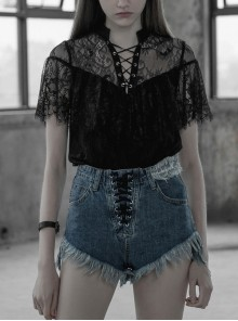 V-Neck Lace-Up Front Chest Flounce Short Sleeve Black Gothic Lace T-Shirt