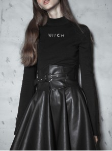 Metal Buckle Collar Front Chest Hollow-Out Long Sleeve Black Punk Tight T-Shirt