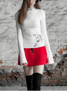 High Collar Long Sleeve Metal Ring Decoration Cuff Glial Print White Punk Tight Knitted T-Shirt