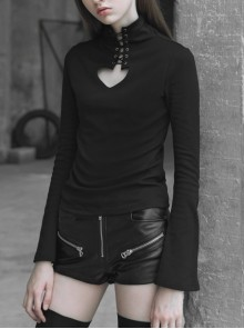 Lace-Up Collar Front Chest Hollow-Out Flare Sleeve Black Punk Tight T-Shirt