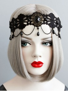Personality Gothic Fashion Pearl Black Lace Hairband Elastic Cord Halloween Headband Accessories