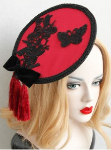 Individuality Retro Gothic Lace Butterfly Flannel Burgundy Tassel Bow Hat Hairpin
