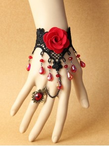 Gothic Red Rose Lace Crystal Bracelet Black Retro Finger Ring One Chain