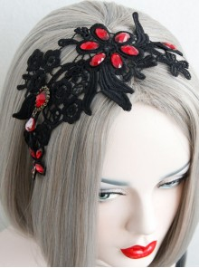 Halloween Christmas Gothic Personality Fashion Atmosphere Black Lace Broad-Brimmed Headband
