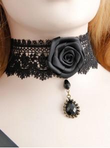 Retro Fashion Black Gothic Lace Rose Artificial Gem Pendant Necklace