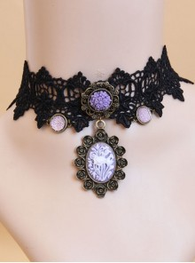 Gothic Style Retro Rose Flower Lace Pendant Female Short Necklace Fake Collar