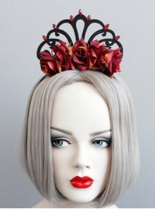Vintage Gothic Baroque Queen Rose Flower Crown Bride Dinner Prom Headband