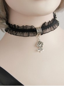 Simple Gothic Black Personality Harajuku Style Lace Rose Pendant Short Chain Jewelry