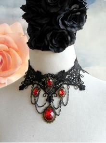 Punk Retro Vampire Black Lace Tassel Red Gem Exaggerated Necklace