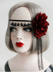 Gothic Halloween Christmas Black Lace Red Rose Face Mask Ribbon Veil