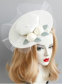 Palace Baroque Retro Horse Racing White Net Yarn Pearl Banquet Wedding Dress Top Hat