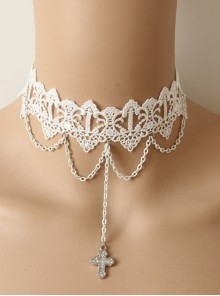Lolita White Lace Cross Christmas Fashion Party Queen Short Necklace