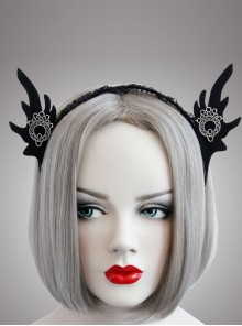 Black Lace Gothic Retro Halloween Party Bunny Ears Felt Cloth Headband
