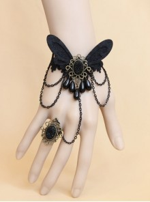 Retro One-Piece Chain With Ring Female Gothic Style Black Lace Bracelet