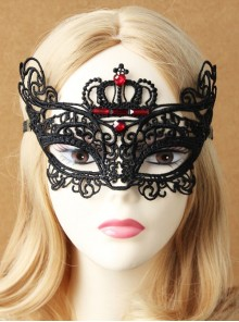 Gothic Prom Retro Princess Style Lace Crown Ruby Half Face Elastic Band Mask