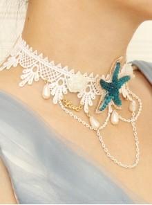 Fashion Beach Accessories Blue Starfish White Lace Choker