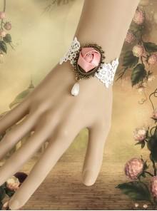 Lolita Lady Lace Pink Rose Female Bracelet Bride Bridesmaid Accessories