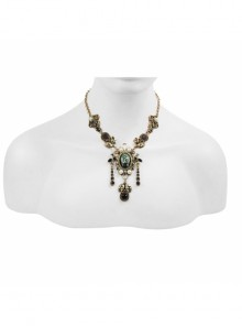 Victorian Antique Gold Vintage Artificial Gemstone Acrylic Pearl Gothic Necklace
