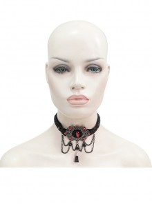 Black Woven Buckle Red Gemstones Gothic Necklace