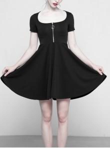 Black Front Metal Zipper Short Sleeve Back Eclipse Design Punk Knit Dress