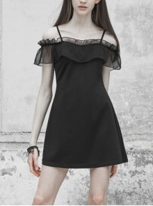 Off-Shoulder Front Chest Chiffon Flounce Black Gothic Imitation Silk Sling Dress