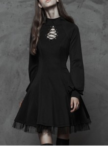 High Collar Front Chest Hollow-Out Lace-Up Long Sleeve Mesh Hem Black Gothic Dress