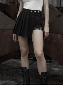 Fake Two-Piece Side Metal Buckle Black Punk Pleated Skirt
