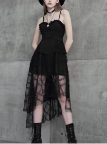 Leather Shoulder Strap Waist Cross Belt Irregular Mesh Hem Black Punk Dress
