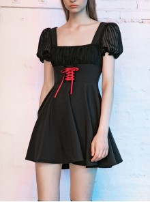 Black Mesh Bubble Sleeve Flounce Cuff Back Waist Red Lace-Up Gothic Dress