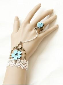 Vintage Gothic White Lace Blue Rose Bracelet Ring Set Jewelry